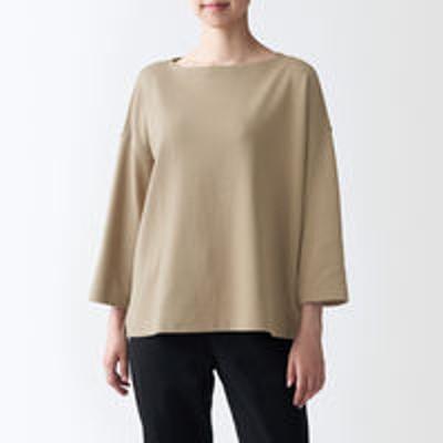 良品計画無印良品 太番手天竺編みボートネック七分袖Tシャツ 婦人 M~L カーキベージュ 良品計画