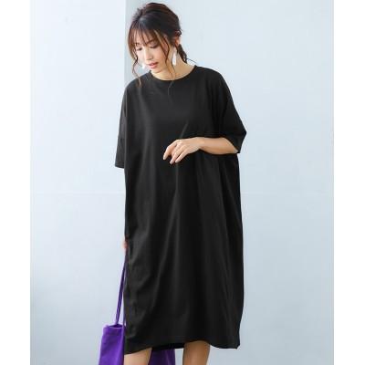 汗じみ防止。抗菌防臭ふんわり5分袖ロングワンピース (ワンピース)Dress