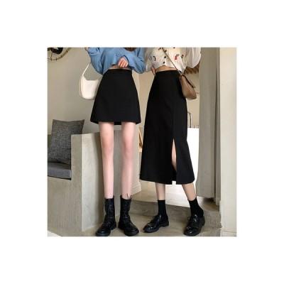 【送料無料】黒の長いセクション スカート 秋 年 デザイン 感 分割スカート 女 着 | 364331_A63688-1349827