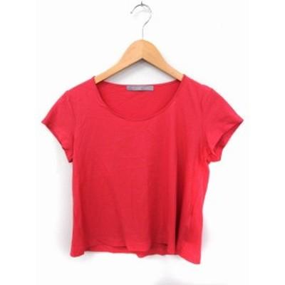 【中古】セオリーリュクス theory luxe Tシャツ カットソー 丸首 半袖 無地 シンプル 綿 40 ピンク /FT27 レディース