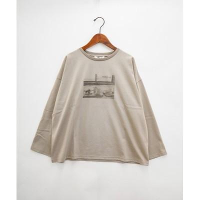 itowa tokyo&wordtrobe / 【wordtrobe】空紡糸転写フォトワイドTシャツ-2 長袖 WOMEN トップス > Tシャツ/カットソー