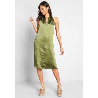 ロウシェ Louche レディース パーティードレス ワンピース・ドレス knot typical satin a-line dress green