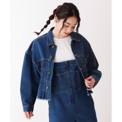 【シューラルー】 裾カットオフGジャン レディース ブルー 03(L) SHOO・LA・RUE