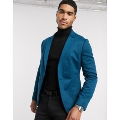 エイソス メンズ ジャケット・ブルゾン アウター ASOS DESIGN super skinny blazer in blue jersey Blue
