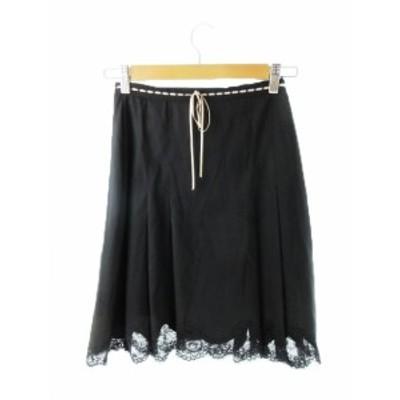 【中古】レベッカテイラー rebecca taylor スカート フレア ひざ丈 リボン 刺繍 レース ウール 2 黒 ブラック /YH12