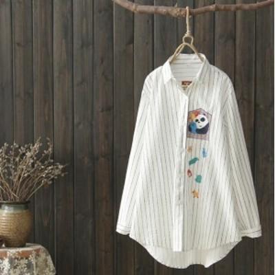 ブラウス プリントシャツ カジュアル トップス ファッション ぱんだ パンダグッズ C05
