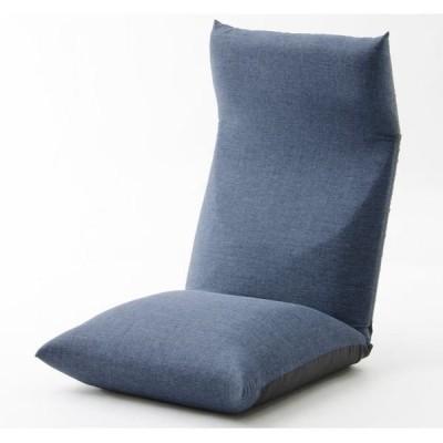 ヘッドリクライニング座椅子/リラックスチェア 〔ネイビー〕 座面ポケットコイル入り 日本製 〔リビング雑貨 生活雑貨〕〔代引不可〕