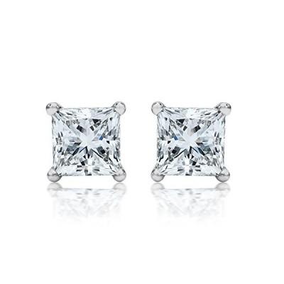 1/3 Carat 14K White Gold Solitaire Diamond Stud Earrings Princess Cut