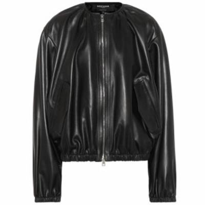 ロシャス Rochas レディース レザージャケット アウター Leather bomber jacket Black