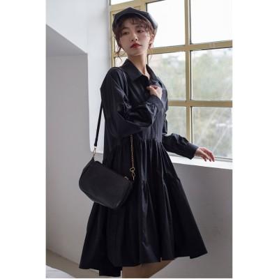 【ガーリードール】 シャツワンピース レディース ブラック L Girly Doll