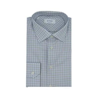 Eton Men's Blue And Black Contemporary Fit Checked Cotton-Tencel Shirt Casu