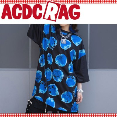 ACDC RAG エーシーディーシーラグ アシメリンゴ ヒュージTシャツ 半袖 薄手 パンク ロック V系 バンギャ 原宿系 病みかわいい 派手カワ 個性的 林檎 アップル