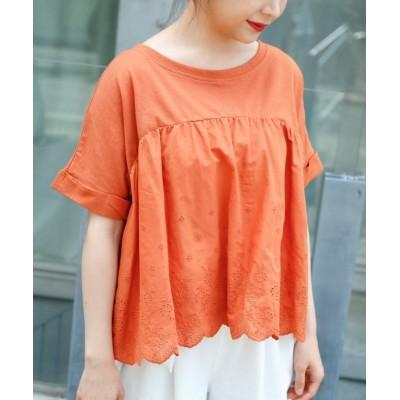 【レイカズン】 スカラップ刺繍Tシャツ レディース オレンジ FREE Ray Cassin