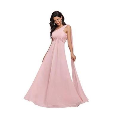 [エバープリティ] 結婚式ドレス パーティー ワンピース シフォン ワンショルダー 袖なし 二次会 お呼ばれ 発