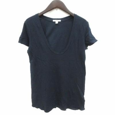 【中古】ジェームスパース JAMES PERSE カットソー Tシャツ Uネック 半袖 1 紺 ネイビー /KB レディース