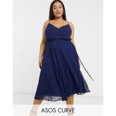 エイソス レディース ワンピース トップス ASOS DESIGN Curve pleated cami midi dress with drawstring waist in navy Navy