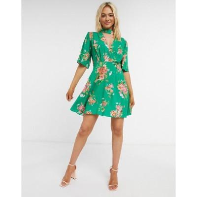 エイソス ミニドレス レディース ASOS DESIGN flutter sleeve mini dress in floral print エイソス ASOS グリーン 緑