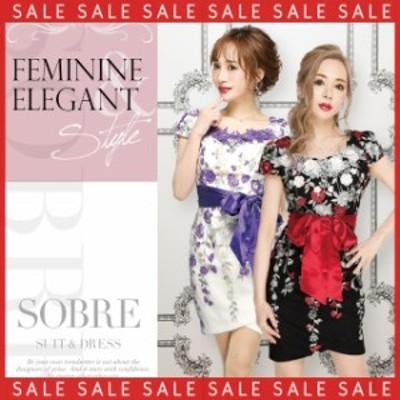 【SALE】キャバドレス キャバ ドレス 大きいサイズ ソブレ ミニ ワンピ 195127 刺繍フラワーワンピース 【返品交換不可】