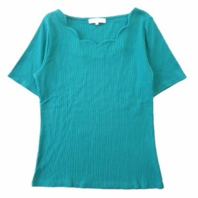 【中古】美品 グローブ grove Tシャツ カットソー 半袖 無地 768-1436 サイズM 緑 グリーン レディース ▼4