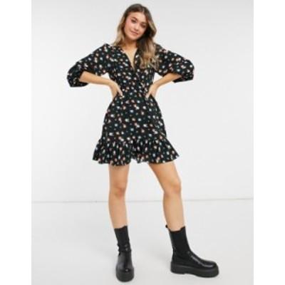 エイソス レディース ワンピース トップス ASOS DESIGN wrap front frill hem puff sleeve mini tea dress in black based floral Bold f