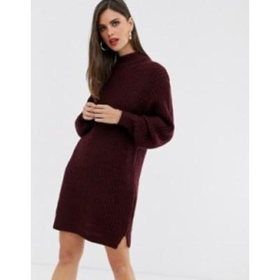 エイソス レディース ワンピース トップス ASOS DESIGN knitted rib mini dress with chunky crew neck Dark red