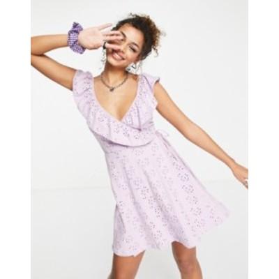 エイソス レディース ワンピース トップス ASOS DESIGN broderie wrap frill dress in lilac Mauve