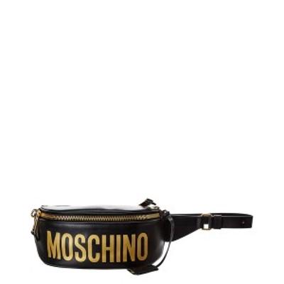 モスキーノ レディース ショルダーバッグ バッグ Moschino Logo Print Leather Belt Bag black leather