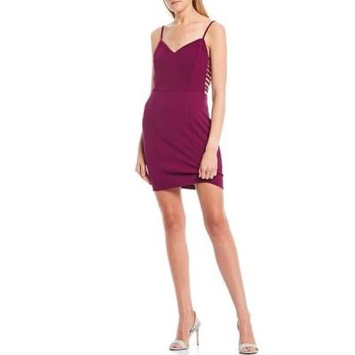 ジャンプ レディース ワンピース トップス V-Neck Spaghetti Strap Strappy Sides Sheath Dress