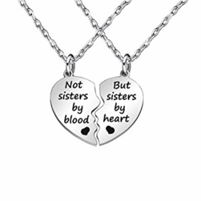 JQFEN ブロークンハート型フレンドシップネックレス レディース ガールジュエリー ギフト Not Sisters by Blood But Sisters by Heart
