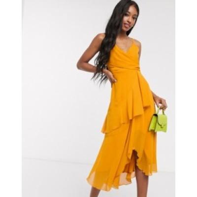 エイソス レディース ワンピース トップス ASOS DESIGN soft layered cami midi dress in sunflower yellow Sunflower