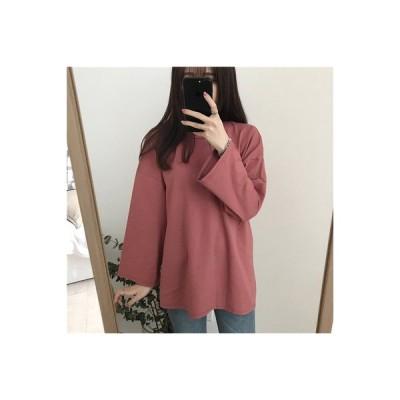 【送料無料】単一色 長袖Tシャツ 女 韓国風 ルース 何でも似合う 着やせ ボトムシ   364331_A63590-6091915