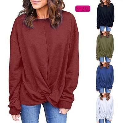 ブラウス レディース トップス ゆったり 長袖 オシャレ tシャツ 春秋 裾デザイン ドロップショルダー 大きいサイズあり 大人気 無地 50代 通勤 カジュアル