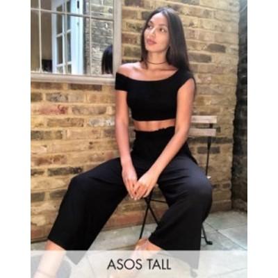 エイソス レディース カジュアルパンツ ボトムス ASOS DESIGN Tall culotte pants with shirred waist Black