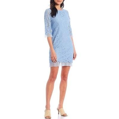 ヴィンスカムート レディース ワンピース トップス 3/4 Sleeve Clip Dot Trim Lace Shift Dress