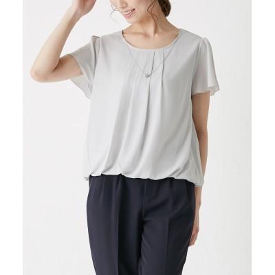 大人なネックレス付裾バルーンブラウス(吸汗速乾機能裏地。洗濯機OK) (ブラウス)Blouses, Shirts,