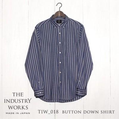 36-2 播州織メンズシャツ「THE INDUSTRY WORKS」(1着)【TIW_018(ブルー×ホワイト×ネイビー)】