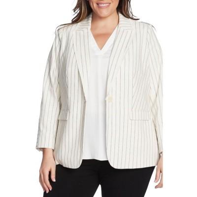 ヴィンスカムート レディース ジャケット&ブルゾン アウター Stripe Cotton Blazer PEARL IVORY