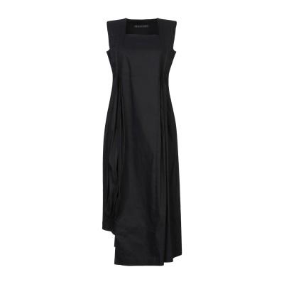 MALLONI 7分丈ワンピース・ドレス ブラック 44 麻 40% / コットン 31% / ナイロン 24% / ポリウレタン 5% 7分丈ワン
