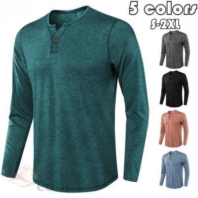 Tシャツ メンズ ヘンリーネック 綿 長袖 ロンT カットソー  Tシャツ 無地 カットソーvネック 大きいサイズ アメカジ シルエット キレイめ 欧米風 秋冬 5色