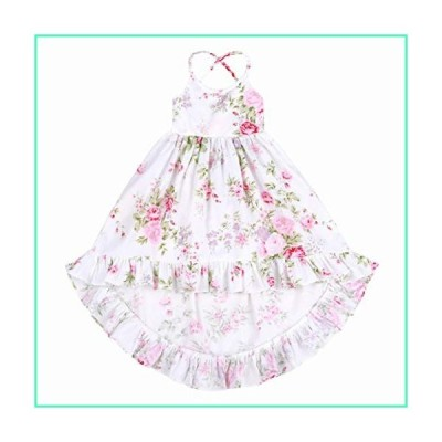 Somlatrecy Vintage Floral Flower Girls Dress Pure Cotton Backless Straps/Sling for Wedding Birthday 1-12 Years (7, White)並行輸入品