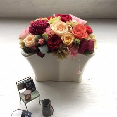 プリザーブドフラワー ハンドメイド ローズ ギフト 還暦 プレゼント お祝い 誕生日 敬老の日 母の日 記念日 枯れない花 ケース入り 世界に一つだけ