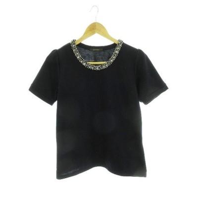 【中古】チャオパニック CIAOPANIC Tシャツ カットソー 半袖 ビジュー F 黒 ブラック /CK レディース 【ベクトル 古着】
