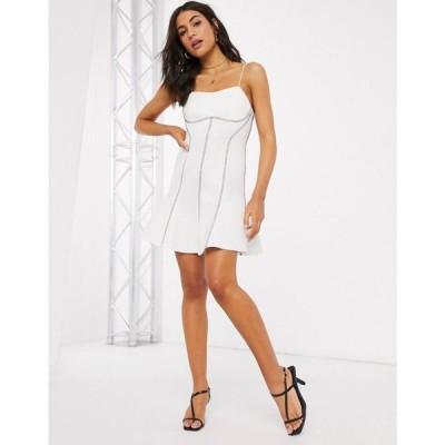 エイソス ASOS DESIGN レディース ワンピース キャミワンピ ワンピース・ドレス top stitch seamed cami skater mini dress in ivory アイボリー