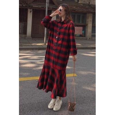 【 S ~ XL 】 大きいサイズ レディース 秋 冬 長袖 チェック柄 フィッシュ テール カジュアル ドレス スカート 70684