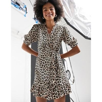 トップショップ レディース ワンピース トップス Topshop animal print wrap midi dress in multi