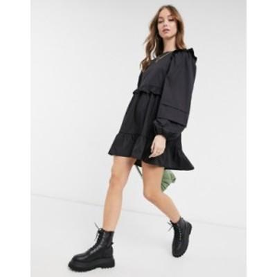 エイソス レディース ワンピース トップス ASOS DESIGN cotton poplin mini smock dress with pin tucks in black Black