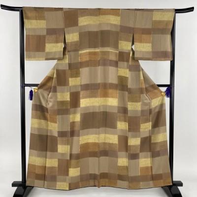 在庫一掃 小紋 名品 変わり市松 部分絞り 薄茶色 袷 身丈160.5cm 裄丈63.5cm S 正絹 中古