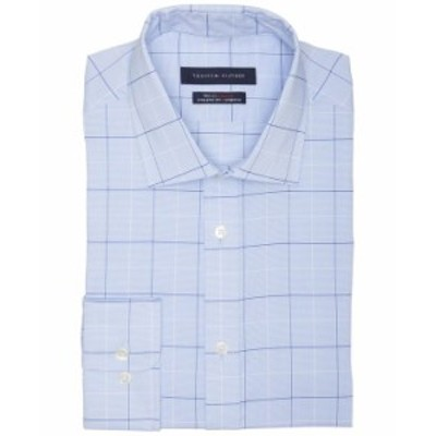 トミー ヒルフィガー メンズ シャツ トップス Men's Athletic Fit Non-Iron Stretch Performance Windowpane Dress Shirt River Blue