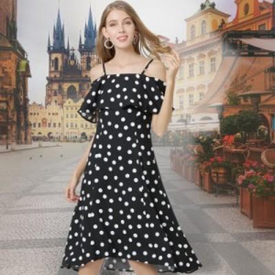 夏 ワンピース ワンショルダー シフォン Aライン ドレス 安い 可愛い 甘い 綺麗め 大人 サマードレス デート 水玉 ドット プリント 膝丈