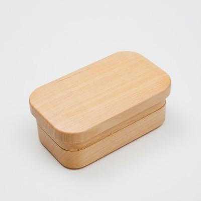 天然木製 青桐 プチ弁当箱 二段 長角(大)